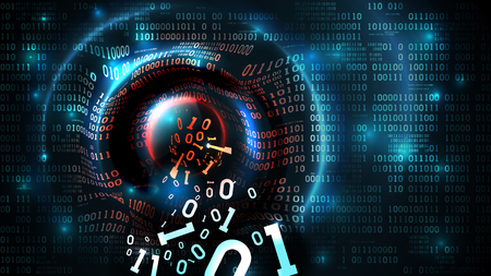 Hacking abstract database, firewall, computer internet server, social network account, theft of data. Data stream, Binary code abstract programming background, vector