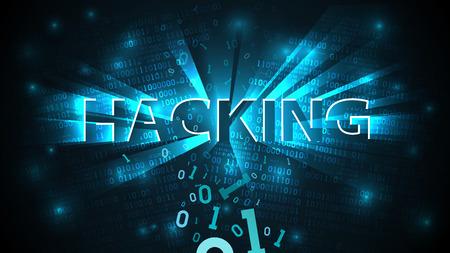 Arrière-plan de piratage, système de piratage abstrait. Attaque de pirate informatique, code binaire tombant cassé, arrière-plan matriciel avec chiffres, réseau neuronal de données volumineuses, illustration vectorielle Vecteurs