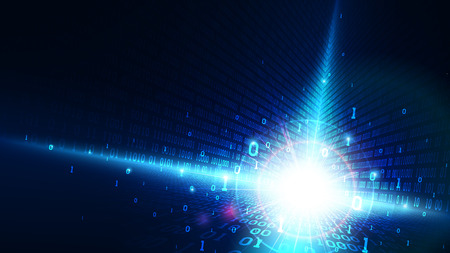 Binary code in abstract matrix cyberspace, shining blue background with digital code, artificial intelligence, big data, cloud service, machine learning