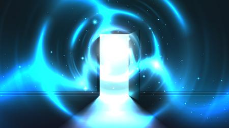 Lichttunnel von offener Tür des dunklen Raumes, abstrakter mystischer paranormal leuchtender Ausgang. Licht am Ende eines Tunnels. Portal zu einer anderen Welt, einem fremden Universum. Vorlage der offenen Tür, Science-Fiction-Hintergrund Vektorgrafik