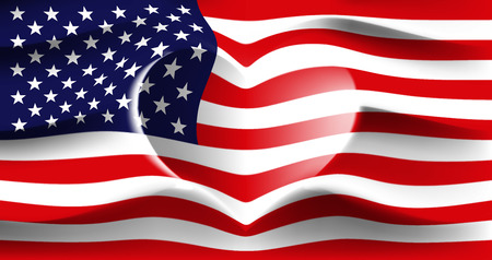 USA with love. American national flag with heart shaped waves. Background in colors of the american flag. Heart shape, vector illustration