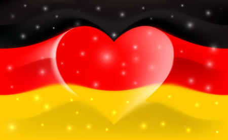 Germany with love. Germany national flag with heart shaped waves. Background in the colors of the German flag. Heart shape, vector illustration