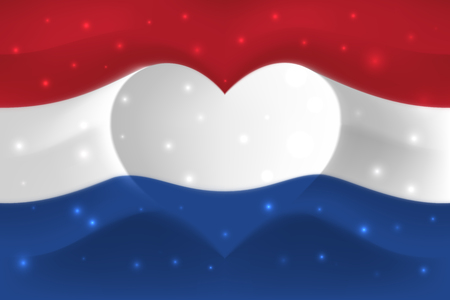 Netherlands with love. National flag with heart shaped waves. Background in colors of flag of netherlands. Heart shape, vector illustration Stock fotó - 124357405