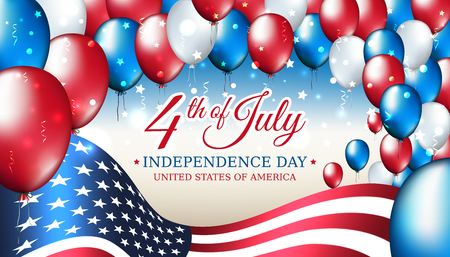 Banner 4th of july usa independence day, vector template with american flag and colored balloons on blue shining starry background. Fourth of july, USA national holiday Illusztráció