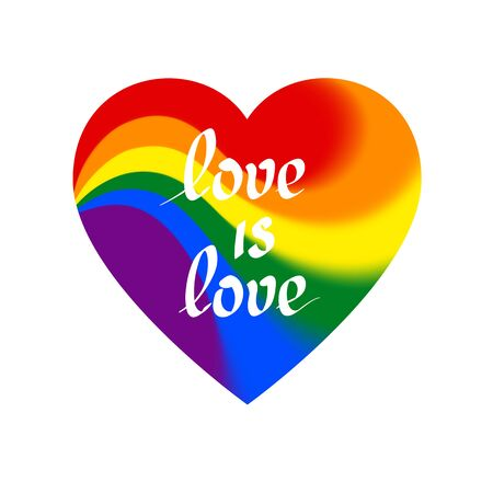 LGBT concept - heart shape in lgbtq flag colors with the text love is love. Icon of love transgender gay lesbians with blurred wavy rainbow. Multicolor vector symbol