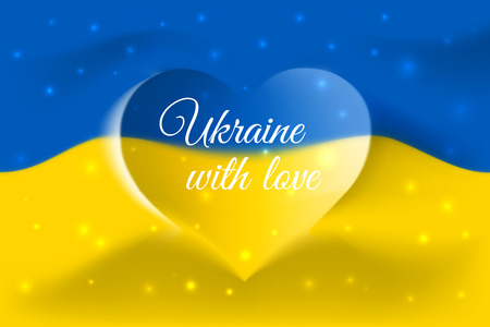 Ukraine with love. Ukrainian national flag with heart shaped waves. Background in colors of the ukrainian flag. Heart shape, vector illustration Vectores