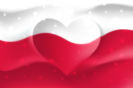 Poland with love. Polish national flag with heart shaped waves. Background in colors of the polish flag. Heart shape, vector illustration