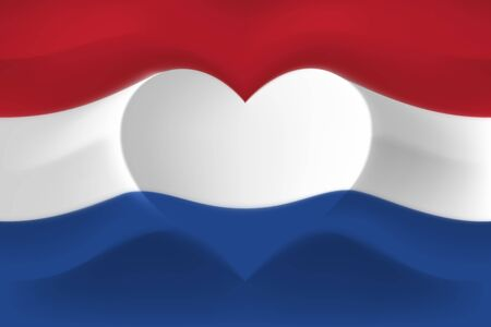 Netherlands with love. National flag with heart shaped waves. Background in colors of flag of netherlands. Heart shape, vector illustration Illusztráció