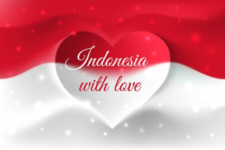Indonesia with love. Indonesian national flag with heart shaped waves. Background in colors of indonesian flag. Heart shape, vector illustration