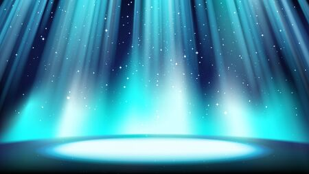 Empty blue scene with a dark background, place lit by bright cyan spotlight, falling shiny sparkling particles. Colorful azure backdrop for catchy design