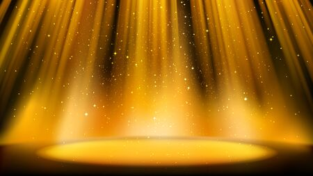 Empty golden scene with a dark background, place lit by bright golden spotlight, shiny sparkling particles. Colorful amber backdrop for catchy design
