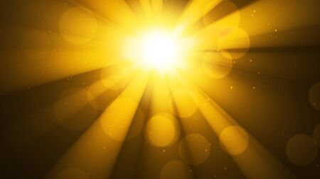 Background with bright golden sun, sunshine. Light and bokeh effect. Divine golden shine, heaven, sparkling shining sky