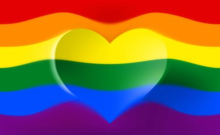 The rainbow flag is a symbol of pride lgbt and lgbtq with a heart shape and the text love is love. Gay lesbian transgender rainbow blurred wave background. Multicolor gay flag for parade, vector Illusztráció