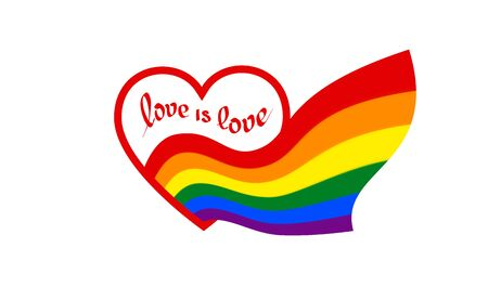 From heart with text love is love comes a rainbow flag - symbol of pride lgbt and lgbtq. Rainbow sign gay, lesbian, transgender in shape of heart and flag. Coming out LGBT icon, vector