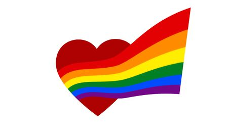 From the red heart comes rainbow flag - symbol of pride lgbt and lgbtq. Coming out LGBT icon. Rainbow sign gay, lesbian, transgender in shape of heart and flag, vector Illusztráció