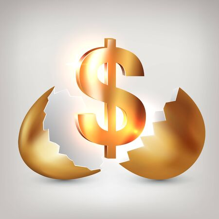 Golden dollar symbol inside a golden broken egg. Concept of financial business success or gaining wealth, profitable investments, venture investments. Vector illustration Çizim