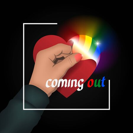 Concept coming out LGBT - hand opens heart glows with rainbow colors LGBT. Symbol of transgender, lesbian, gay, bisexual. Coming out icon - open rainbow heart. National day. Vector illustration Illusztráció