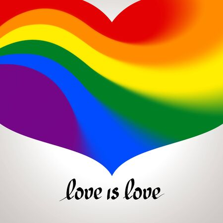 LGBT concept - heart shape in lgbtq flag colors with the text love is love. Blurred wavy rainbow background. Multicolor transgender gay lesbians vector poster Illusztráció