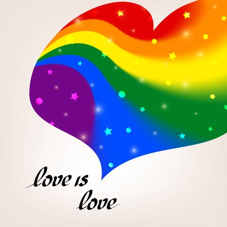 LGBT concept - heart shape in lgbtq flag colors with the text love is love. Blurred wavy rainbow background with sparkles and stars. Multicolor transgender gay lesbians vector poster Illusztráció