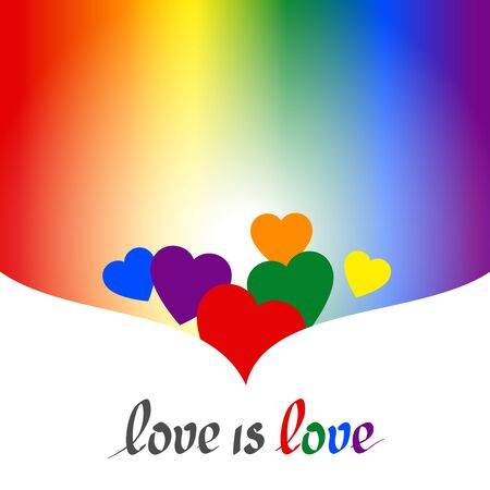LGBT concept - heart shape in lgbtq flag colors with the text love is love. Blurred rainbow background. Multicolor transgender gay lesbians vector poster Illusztráció