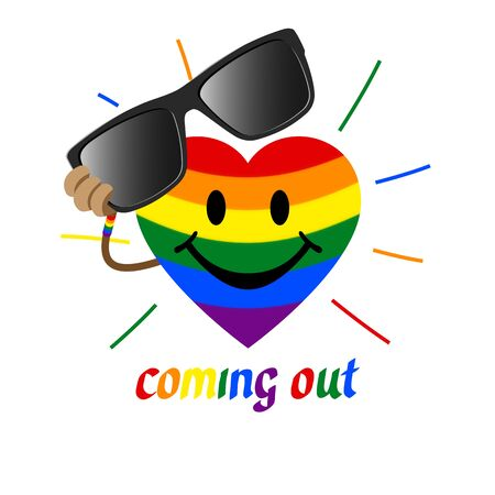 Coming out LGBT sign - heart shape in the colors of the rainbow flag LGBTK removes sunglasses. Symbol recognition of being gay, lesbian, transgender. Coming out icon - rainbow heart smiles