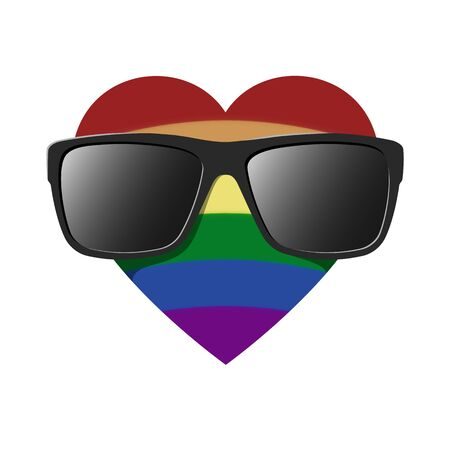 Coming out LGBT sign - heart shape in LGBTQ flag rainbow colors in sunglasses. Symbol of discrimination gay, lesbian, transgender. Coming out icon - rainbow heart smiles