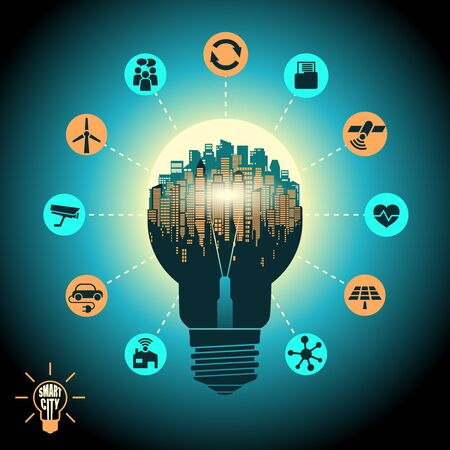 Concept of a smart city, internet of things, social networking, cityscape in silhouette light bulb with advanced smart services