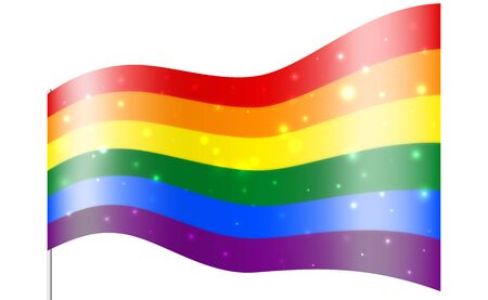 The sparkling glossy rainbow flag is a symbol of pride lgbt and lgbtq. Gay lesbian transgender rainbow wave background. Multicolor gay flag for parade, t shirt vector design Illusztráció