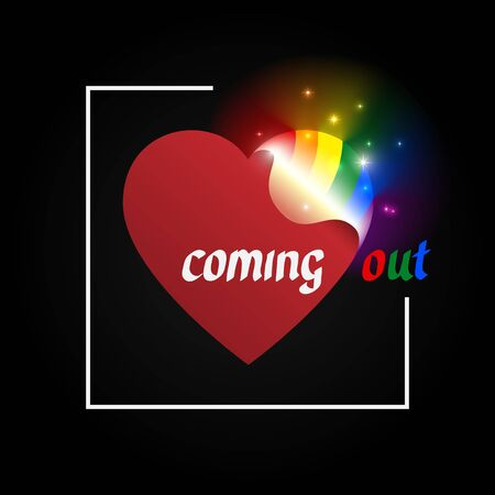 Concept coming out LGBT - opening heart glows with rainbow colors LGBTQ. Symbol of transgender, lesbian, gay, bisexual. Coming out icon - open rainbow heart, t shirt vector design. National day