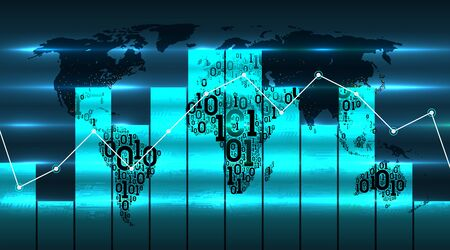 World map with graph chart and diagram, on the background of future digital global technologies. Digital technology concept, cloud service, internet of things, big data. Map of the Earth from abstract binary code, vector infographics Illusztráció