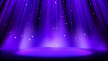 Empty blue purple scene with dark background, place lit by soft indigo spotlight, shiny sparkling particles. Indigo background with soft glow. Vector illustration