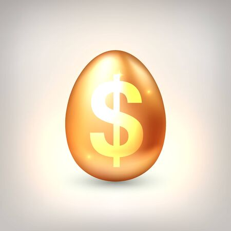 Golden egg with golden dollar symbol. The concept of financial success of business or wealth, profitable investments, venture investments. Vector illustration