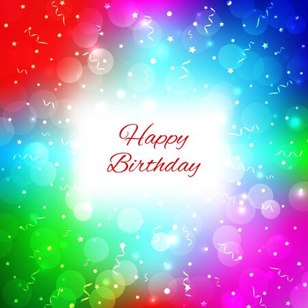 Festive party colorful background with confetti, bokeh and serpentine. Bright multicolor background. Happy birthday card with place for text. Vector greeting card