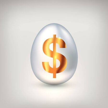 White egg with golden dollar symbol. The concept of financial success of business or wealth, profitable investments, venture investments. Vector illustration