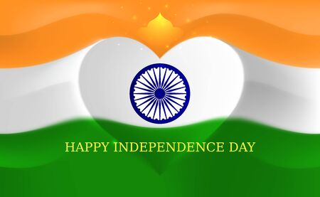 India independence day, heart shaped indian flag vector template. August 15. Background with flying flag. Indian national holiday august 15. Independence day greeting card Illusztráció