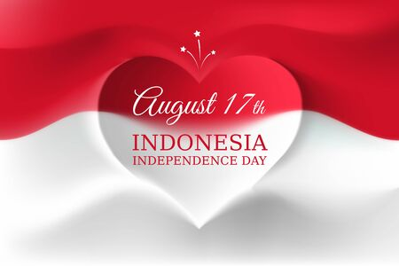 Banner august 17, independence day indonesia, vector template indonesian flag with heart shape. Background with flying flag. National holiday of indonesia on august 17. Independence day greeting card