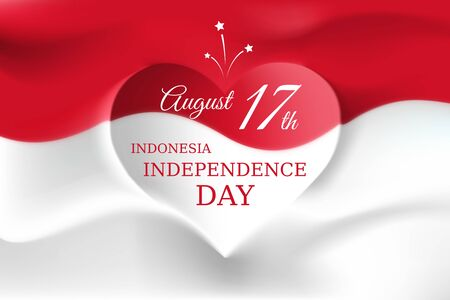 Banner august 17, independence day indonesia, vector template indonesian flag with heart shape. Background with flying flag. National holiday of indonesia on august 17. Independence day greeting card Stock fotó - 127571741