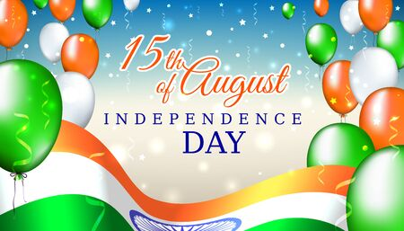 August 15, india independence day, vector template with indian flag and colored balloons on blue shining starry background. Independence day greeting card. India national holiday august 15 Stock fotó - 127571742
