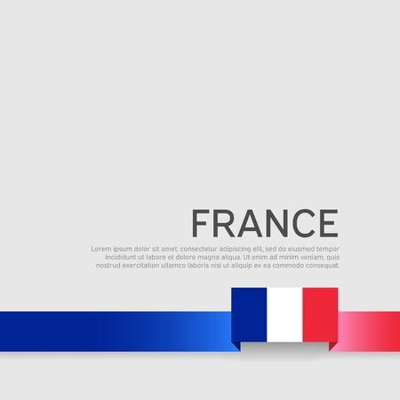 France flag background. Ribbon color flag of france on a white background. National poster. Vector tricolor flat design. State french patriotic banner, cover