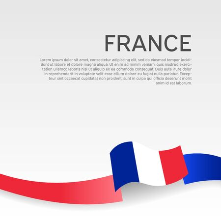 France flag background. Wavy ribbon color flag of france on a white background. National poster. Vector tricolor design. State french patriotic banner, flyer Illusztráció