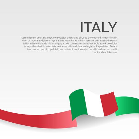 Italy flag background. Wavy ribbon color flag of italy on a white background. National poster. Vector tricolor design. State italian patriotic banner, cover Ilustração