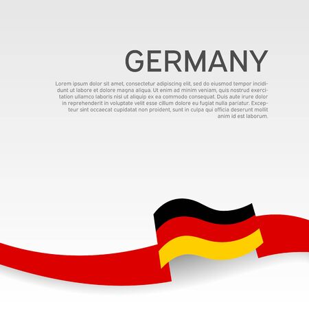 Germany flag background. Wavy ribbon in colors of germany flag on white background. National poster. Vector tricolor design. State germanic patriotic flyer, cover