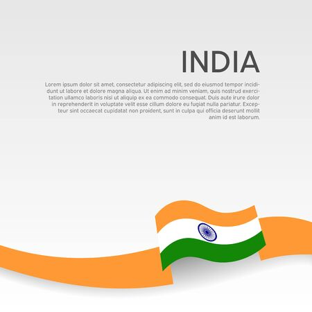 India flag background. Wavy ribbon colors flag of india on white background. National poster. Vector flat design. State indian patriotic banner, cover