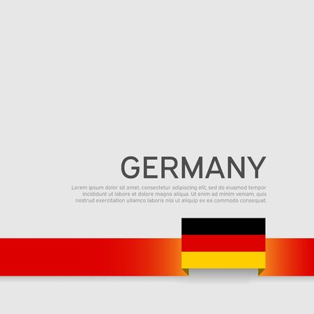 Germany flag background. Ribbon in colors of germany flag on white background. National poster. Vector tricolor flat design. State germanic patriotic banner, cover