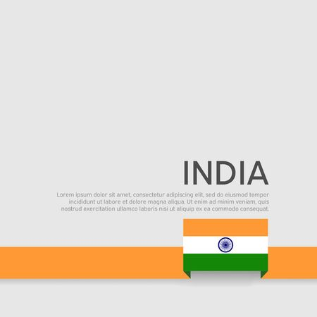 India flag background. Rribbon colors flag of india on white background. National poster. Vector flat design. State indian patriotic cover, flyer