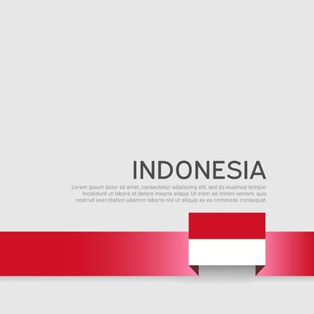 Indonesia flag background. Ribbon indonesia flag colors on white background. National poster. Vector flat design. State patriotic banner, cover, flyer Illustration
