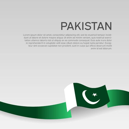 Pakistan flag background. Wavy ribbon colors flag of pakistan on white background. National poster. Vector illustration. State patriotic banner, cover