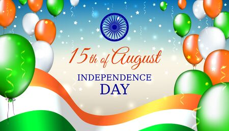 August 15, india independence day, vector template with indian flag and colored balloons on blue shining starry background. India national holiday august 15. Independence day card