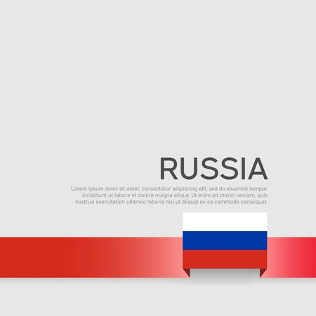 Russia flag background. Ribbon in the color of the russian flag on a white background. National poster. Vector tricolor flat design. State russian patriotic banner, cover Illusztráció