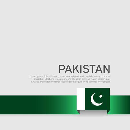 Pakistan flag background. Ribbon colors flag of pakistan on white background. National poster. Vector flat design. State patriotic cover, flyer Ilustração